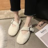 毛毛鞋 毛毛鞋女冬外穿新款羊羔卷毛平底棉鞋子懶人一腳蹬豆豆鞋-Ballet朵朵