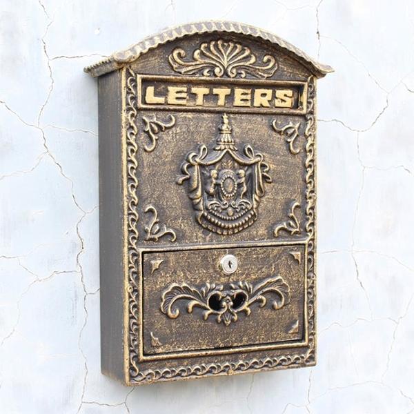 歐式復古創意家居裝飾鐵藝古銅郵箱壁掛式貴族徽標信報箱郵筒信箱