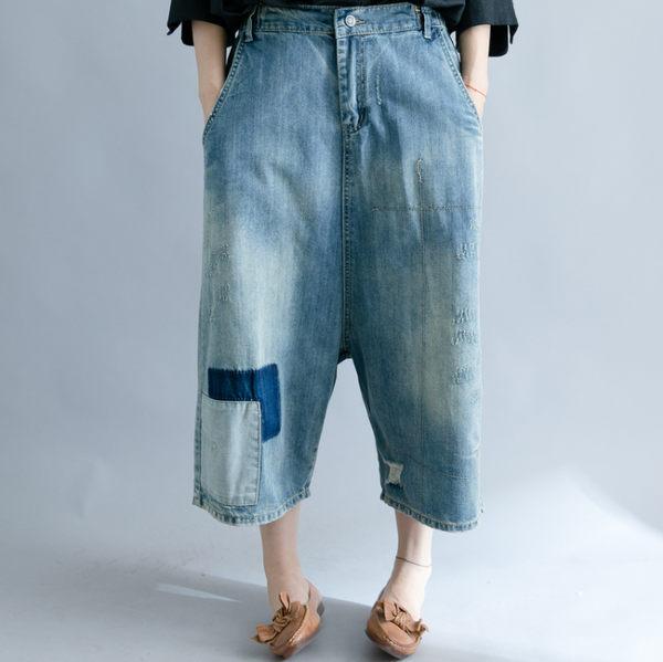 褲子 - B16330 簡約拼布牛仔寬垮褲【L-XL】MEET中大尺碼