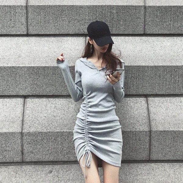 VK旗艦店 韓系氣質連帽抽繩不規則個性修身長袖洋裝