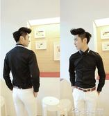 新款發型師潮流白襯衫長袖休閒帥氣襯衣商務韓版修身寸衫男士  夢想生活家