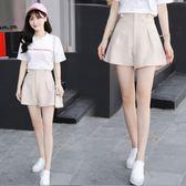 韓版休閒大碼短褲女夏季2018新款百搭顯瘦寬鬆高腰闊腿褲學生褲裙  晴光小語