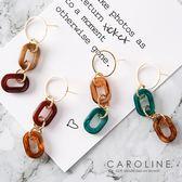 《Caroline》★韓國熱賣復古琥珀紋幾何長款甜美浪漫風格時尚流行耳環70031