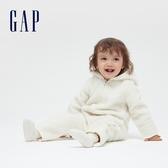 Gap嬰兒 仿羊羔絨開襟熊耳造型包屁衣 595070-象牙白