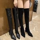 貼腿過膝靴.韓版人氣激瘦素面高跟尖頭長靴.白鳥麗子