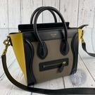 BRAND楓月 CELINE 經典 灰色拚黃色 冏包 NANO 兩用包 手提包 斜背包