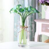 現代簡歐玻璃透明麻繩花瓶仿真花藝套裝假花