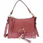 SEE BY CHLOE Joan 小型 編織金屬圈拼接皮革兩用包(鏽粉色) 1720498-05