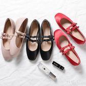 復古瑪麗珍鞋女平底紅色新款百搭秋季奶奶鞋仙女風時尚蘿莉娃娃鞋 DN19271『科炫3C』
