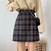 窄裙 2021新款韓版格子裙子高腰半身裙女秋季短裙學生一步裙包臀短裙 霓裳細軟
