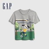Gap男幼童 可愛印花圓領短袖T恤 681425-淺麻灰