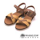 WALKING ZONE 環扣式坡跟休閒涼鞋 女鞋-黃(另有藍)