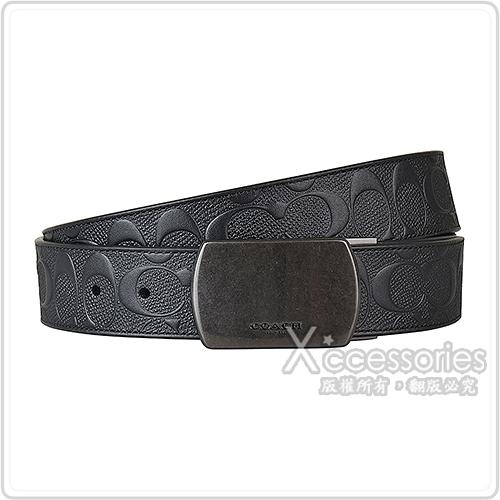 COACH PLAQUE壓印LOGO大C浮雕設計PVC釦式皮帶(黑)