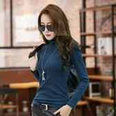 高領打底衫女秋冬新款加絨加厚白色修身長袖T恤韓版純色緊身秋衣『潮流世家』
