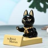 大英博物馆埃及猫摆件桌面手机支架创意生日礼物可爱便携手机座 卡布奇諾