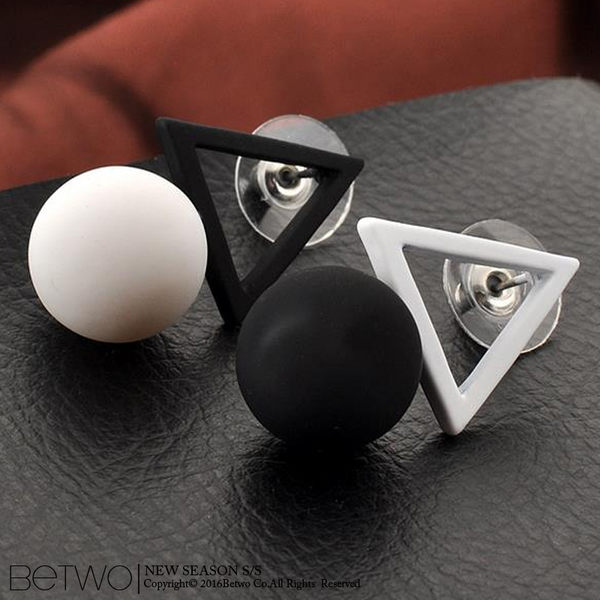 彼兔 betwo.耳環 QOC*多色幾合圖形拼接撞色圓球造型耳釘式耳環【331-AF36】06030174現貨
