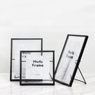 相框北歐ins幾何金屬黑色簡約個性桌面擺件簡約4 6 7鐵藝相框擺台
