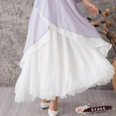 實拍 8米三層大擺進口仿皺仙女裙百搭顯瘦純色半身長裙 「尚美潮流閣」