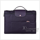 LONGCHAMP COLLECTION系列刺繡LOGO尼龍摺疊款手提公事包(藍莓紫x粉)
