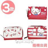 〔小禮堂〕Hello Kitty 皮質扣式短夾《3款.隨機出貨.紅白》皮夾.錢包 4712937-66916