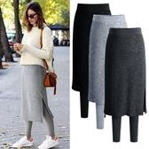褲裙裙褲一體女外穿假兩件秋冬顯瘦韓版高腰大碼加絨加厚保暖打底褲