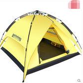 全自動帳篷戶外二室一廳2人3-4人雙層防雨家庭套裝 三用鹅黃色-拉抻款