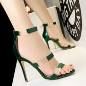 韓版新款時尚透明高跟細跟百搭性感夜店一字帶涼鞋 DN11058【123休閒館】