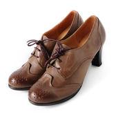 DeSire  英倫學院風花邊綁帶真皮牛津鞋  -可可