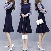 降價兩天 早秋裝2020年女裝 長袖雪紡連衣裙 收腰氣質洋裝 流行針織裙子春