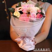 玫瑰花假的仿真花束情人節香皂花禮盒生日浪漫創意高檔畢業花禮物『CR水晶鞋坊』