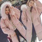 【真狐狸毛】粉色毛領連帽大口袋羽絨棉長大衣/外套 S-XL碼【P176138】