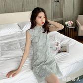 2019新款韓版高腰蕾絲網紗無袖洋裝連身裙女小個子改良版少女旗袍TA9571【極致男人】