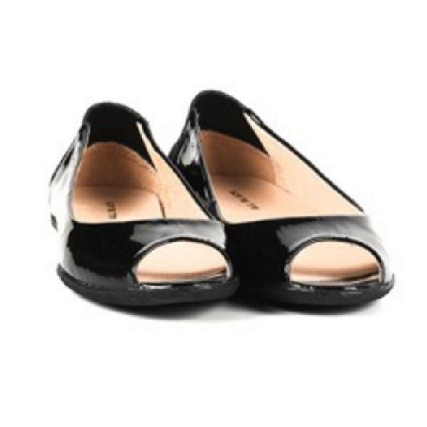 ALL BLACK 時尚典雅美型素面魚口平底鞋-- 黑