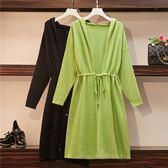 中大尺碼XL-4XL/綠色新款針織開衫連帽松緊腰寬松藏肉百搭毛衣4F072.9081.1號公館