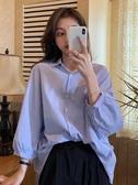 七分袖上衣2020早秋新款港風復古藍色七分袖襯衫女裝設計感小眾外穿百搭上衣 雲朵走走