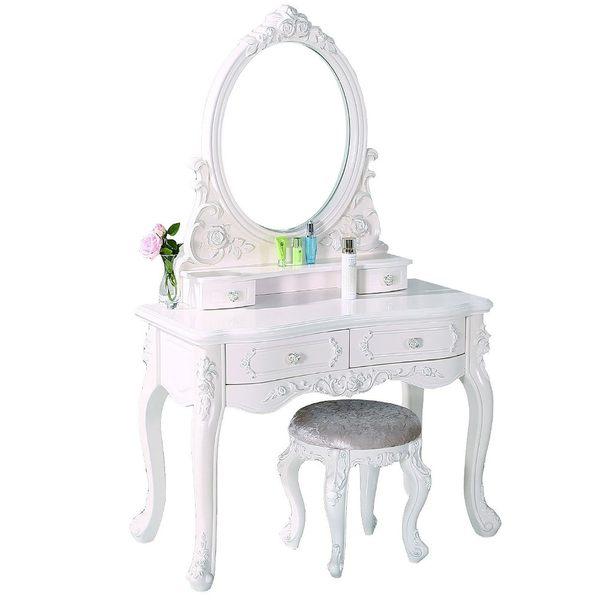 【森可家居】克洛伊3.3尺象牙白化粧台 7JF106-1 梳化妝鏡檯 法式古典宮廷 鄉村風