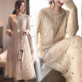 孕婦洋裝 孕婦秋裝上衣女時尚網紅款遮孕肚女裝洋氣毛衣孕婦洋裝秋款套裝 果寶時尚
