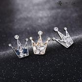 韓版小皇冠胸針領針男襯衫領扣水晶胸花