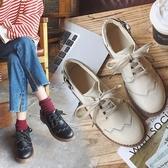 韓國日系軟妹小皮鞋女原宿風學院風百搭學生布洛克小單鞋