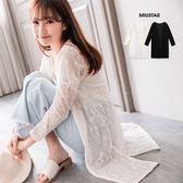MIUSTAR 浪漫唯美!玫瑰蕾絲長外套(共2色)【NF2986RR】預購