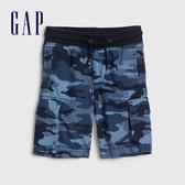Gap男幼童 棉質迷彩鬆緊短褲 541846-藍色迷彩