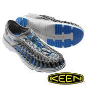 【KEEN 美國】UNEEK O2男拉繩涼鞋『淺灰/寶藍』1016909 水陸兩用鞋|溯溪|健走||海邊|沙灘