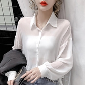 依二衣 雪紡衫 秋夏新品小性感純色長袖雪紡開衫防曬衫襯衫寬鬆