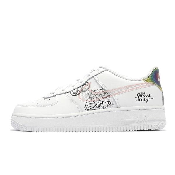 Nike 休閒鞋 Air Force 1 BG 白 黑 塗鴉 小白鞋 女鞋 大童鞋 【ACS】 DM5457-110