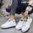 小白鞋-字母撞色綁帶厚底休閒鞋【XLWSN24】 簡約撞色設計 舒適軟Q厚底鞋