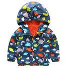 男Baby男童防風薄外套多彩小恐龍印花連帽外套現貨 出口日本品質