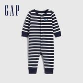 Gap嬰兒 LOGO撞色條紋一體式包屁衣 622916-海軍藍條紋