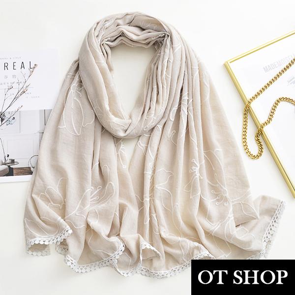 OT SHOP [現貨] 防曬空調絲巾 披肩 棉麻 白色繡花 花邊流蘇 小清新風格 渡假風穿搭配件 D9079