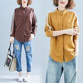 襯衫 春秋女裝大碼襯衫女長袖2019新款微胖mm拉條純色洋氣減齡長袖襯衣