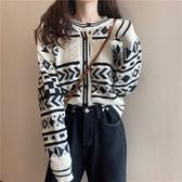 針織上衣 秋冬外穿新款復古韓版學生上衣百搭寬松開衫針織線衫外套【快速出貨】